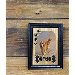 Personalized Dog Photo/ Picture Frame with Name - Bone & Paw Prints