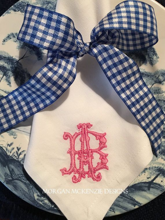 Gothic Monogrammed Napkins Set of 6 by MMDMonograms on Etsy