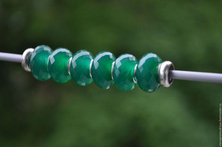 Купить Зеленый оникс - натуральный камень для браслетов Pandora и Trollbeads - pandora, для браслетов, trollbeads, пандора