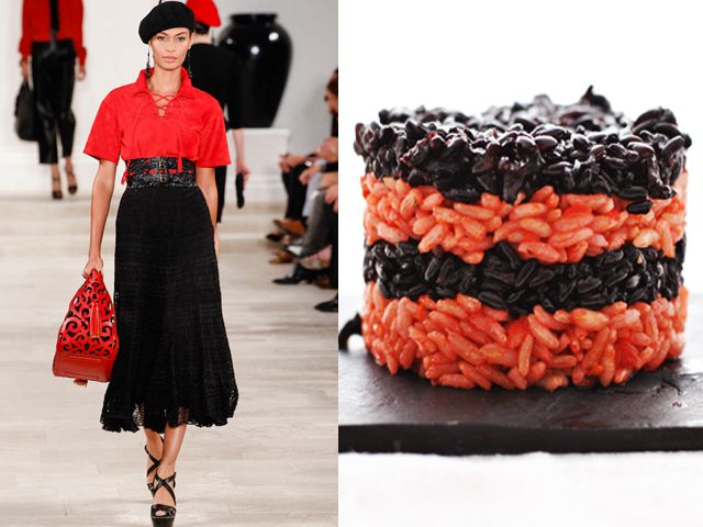 Ralph Lauren ss 2013 / Tomato risotto and black rice marinated with mint