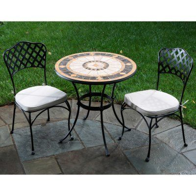 Alfresco Home Compass Indoor Outdoor Round Mosaic Bistro Dining Set, 30 Inch  By Alfresco