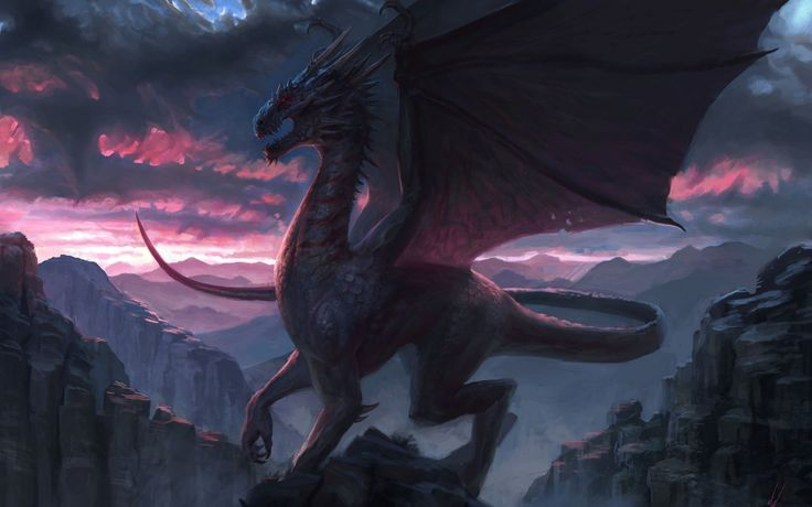 1680x1050 Wallpaper dragon, rock, fantasy, art