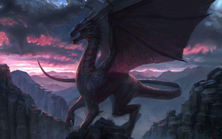 1680x1050 Wallpaper dragon, rock, fantasy, art