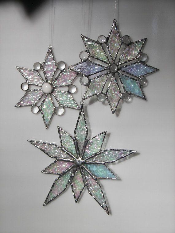 Stained glass Snowflake - Snowflake ornament- Christmas Ornament-Snowflake suncatcher