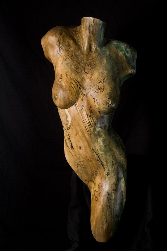 Wood Sculpture Figurative Yamuna, by Chad Awalt-Fine Art and Sculpture in wood