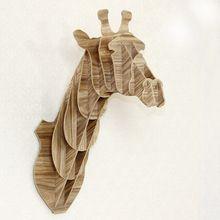 Ambachtelijke dierenkop muur hanger hangers giraffe hoofd hout home decor hout ambachten houten vormen kokeshi(China (Mainland))