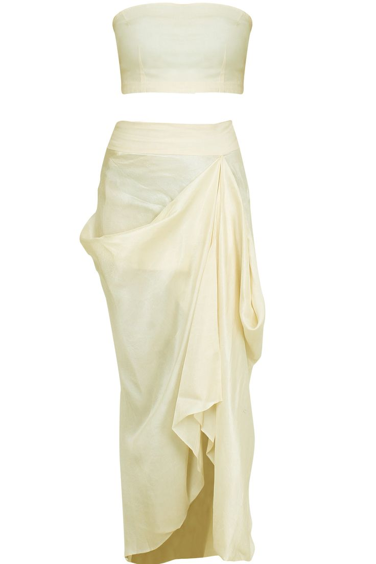 Off-shoulder cream cape with dhoti pants