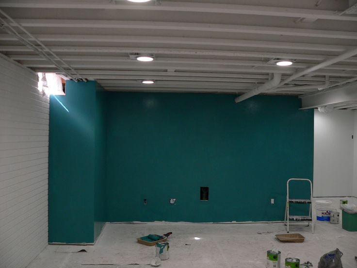 painted ceiling basement accent wall interesting still on concrete basement wall paint colors id=37125