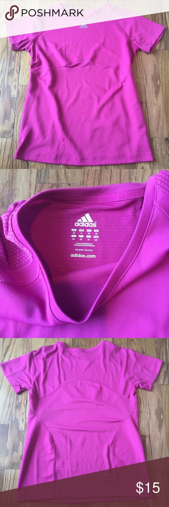 Pink Adidas workout shirt Super cute workout shirt by Adidas. Why not work out in bright pink and get some attention!? Great condition. Adidas Tops Tees - Short Sleeve