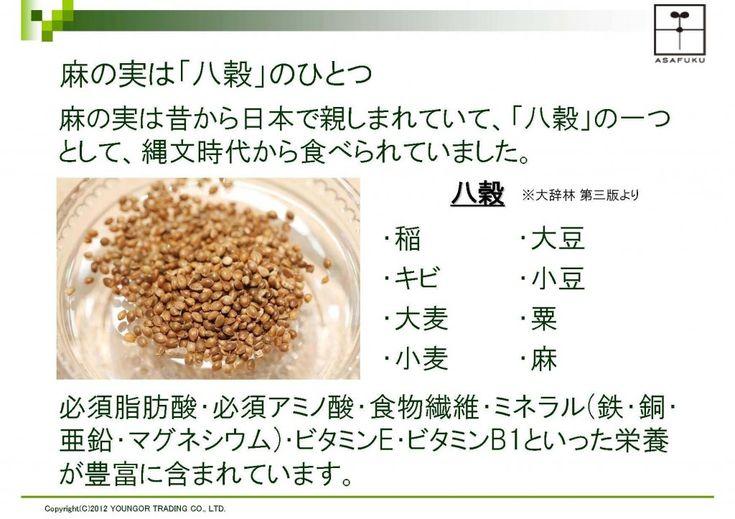 麻の実(ヘンプシード)は加工で七変化。 ~ヘンプ ナッツ・オイル・パウダー効用まとめ~ | 麻の実(粒・Hemp seed)。殻付きの状態です。生の状態と発芽しないように加熱した後(Toasted seeds)でも、それほど栄養分の構成は変わりません。