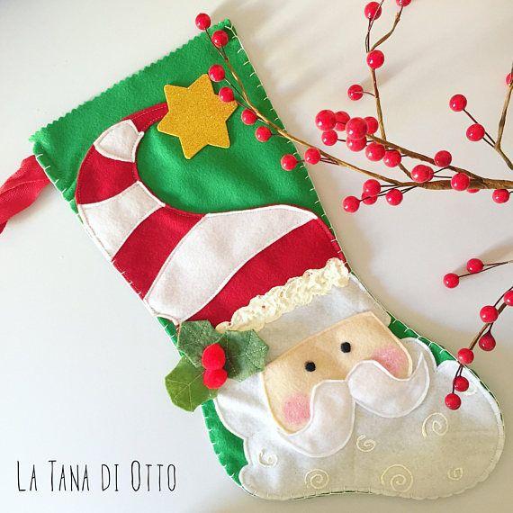 Christmas stocking with Santa Santa stocking Christmas