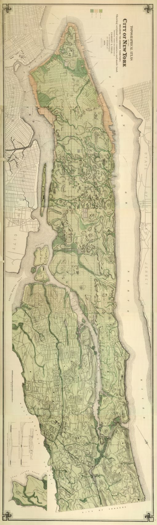 Topographical Atlas Of The City Of New York Including The Annexed Territory. Showing original water courses and made land.
