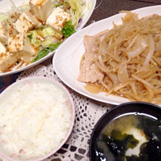 栄養バランスgood☆ - 3件のもぐもぐ - 豆腐サラダ&生姜炒め&卵とわかめの味噌汁 by chibidom