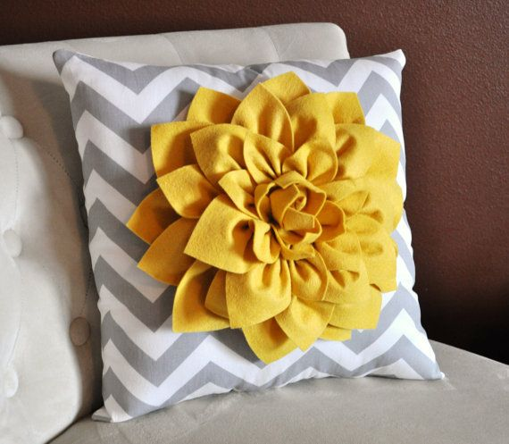 Mellow Yellow Dahlia on Gray and White Zigzag Pillow by bedbuggs, $35.00