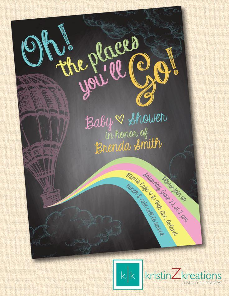 Oh The Places You'll Go - chalkboard baby shower invitation custom printable-- digital file 5x7. $15.00, via Etsy.