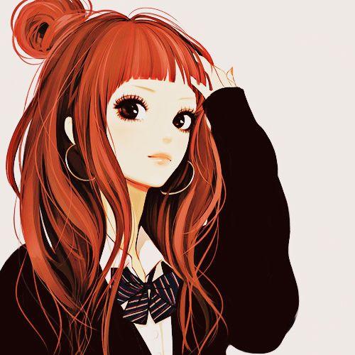 orange hair anime