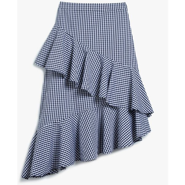 Farrow Gingham Ruffle Skirt (6.900 RUB) ❤ liked on Polyvore featuring skirts, knee length a line skirt, blue high waisted skirt, a-line skirt, flounce skirt and blue a line skirt