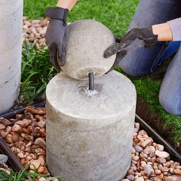 Make This Diy Concrete Sphere Fountain Diy Concrete