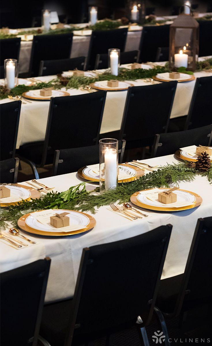 Simple gold, black, white, and greenery wedding reception