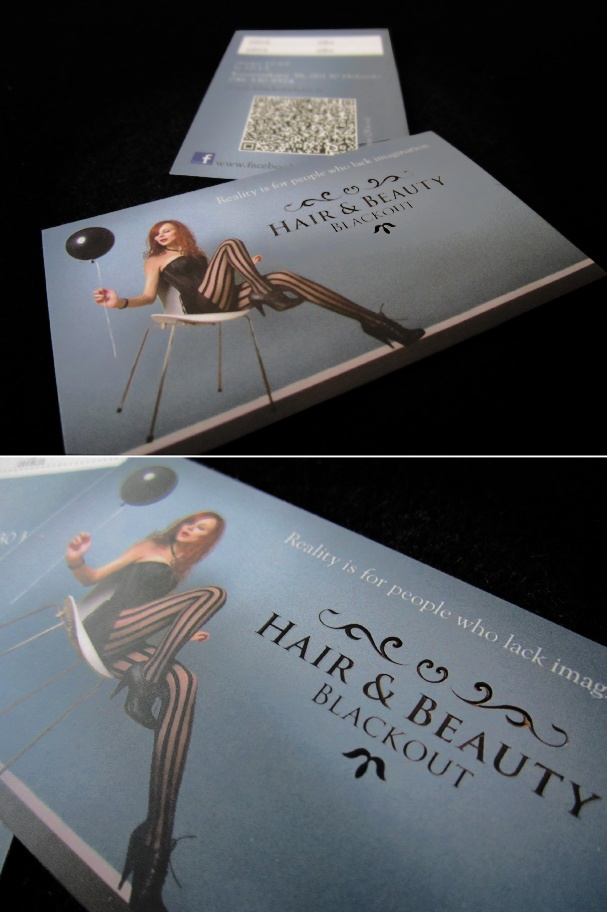 Business card for a hair salon. www.blackouthair.fi