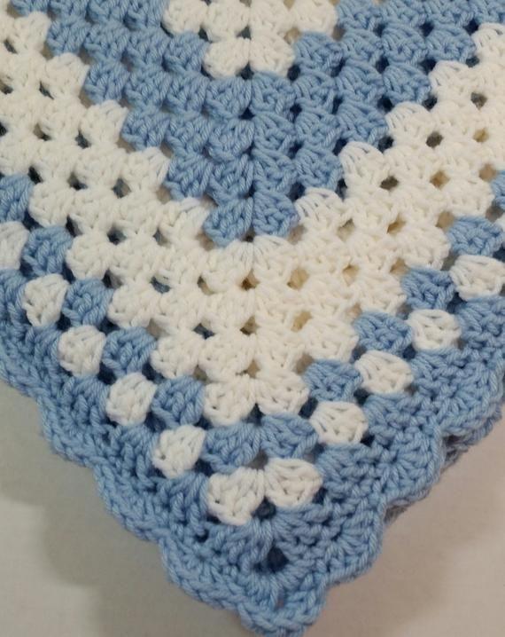 Baby Shower Gift Crochet Baby Blanket Newborn Gift READY TO SHIP Blue Baby Blanket
