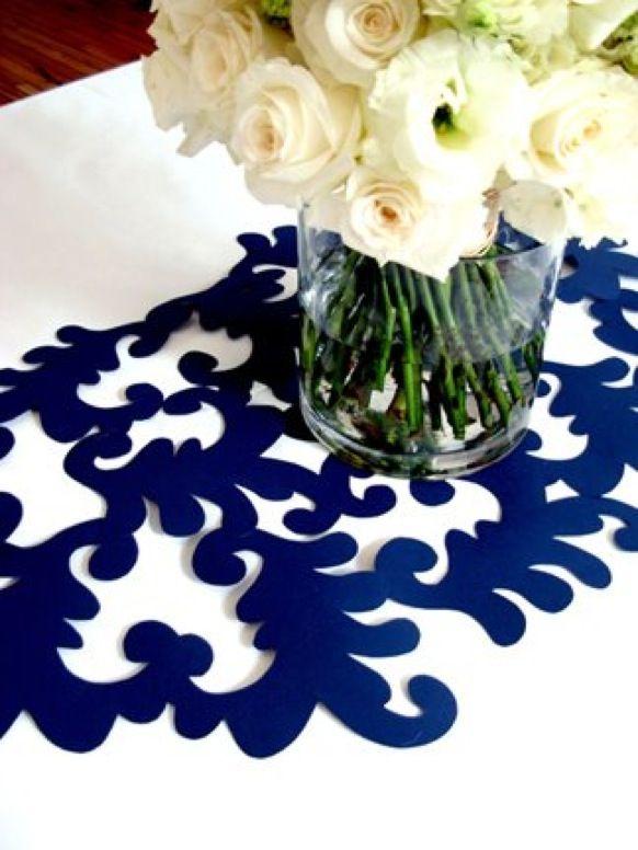 Elegant table stencil runner. Brides Rock Workshops: Inexpensive DIY Elegance www.bridesrockbridalexpos.com