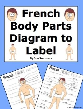 French Body Parts Diagram to Label with 20 Body Parts by Sue Summers