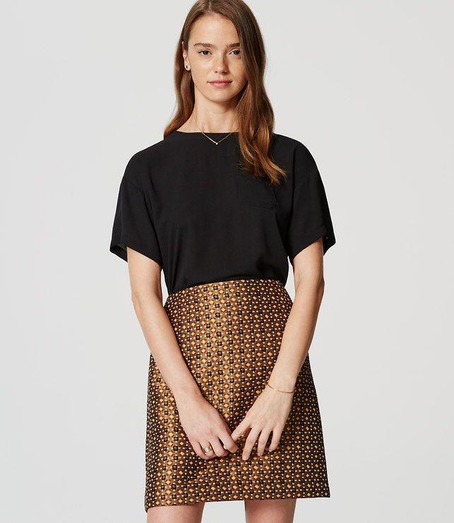 LOFT Petite Geo Garden Shift Skirt