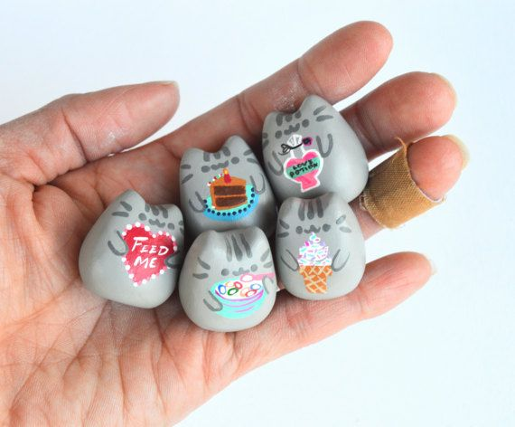 Small Clay Pusheen the Cat Fat Gray Kitty Bowl of by thatmakemejoy