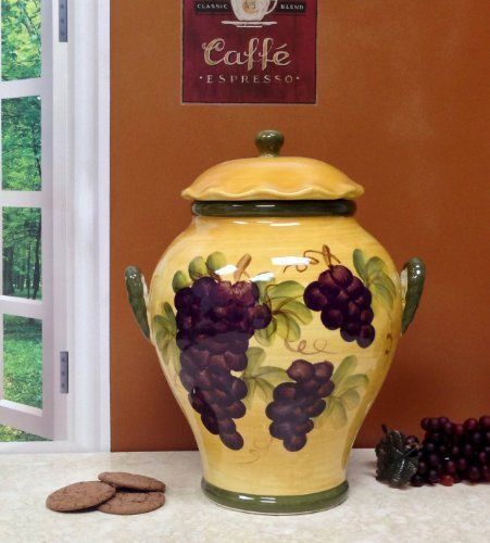 Tuscany Grape Wine Decor Cookie Jar   See other pieces in the Grape Wine Collection