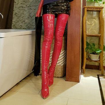 Bottes au-dessus du genou stilettos talons hauts blanc noir rouge chaussures de mode en cuir chaussures de grande taille