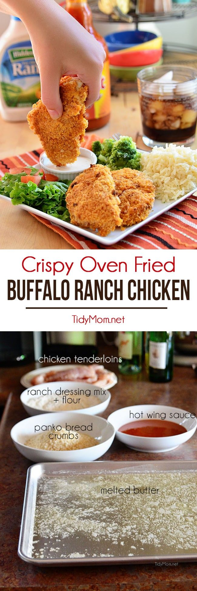 These crispy oven fried Buffalo Ranch Chicken strips are crisp-crusted moist and tender fiery buffalo sauce slathered where's the ranch dip chicken fingers. Get the recipe at TidyMom.net