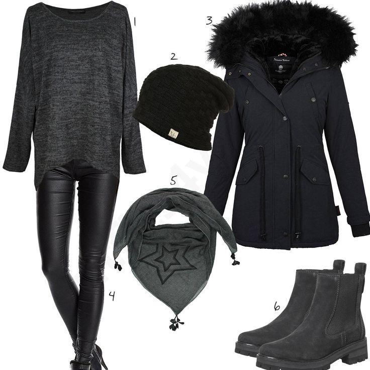 Schwarzes Outfit mit anthrazitem Pullover und Chelsea Boots (w0856) #grau #schwarz #boots #halstuch #mütze #outfit #style #fashion #womensfashion #womensstyle #womenswear #clothing #frauenmode #damenmode #handtasche  #inspiration #frauenoutfit #damenoutfit
