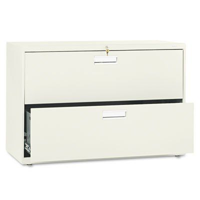 NEW - 600 Series Two-Drawer Lateral File, 42w x19-1/4d, Putty - 692LL Counterweight included, where applicable, to meet ANSI/BIFMA stability requirements.. Lock secures both sides of drawer.. Heavy-duty, three-part, telescoping, steel ball bearing suspension for smooth drawer operation.. Mechanical interlock allows only one drawer to be open at a time to inhibit tipping.. Four adjustable leveling ... #Hon #Home