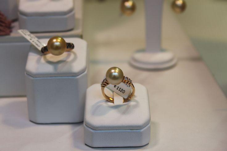Anelli con Perla Gold Diamanti Neri e Brown Oro Rosa