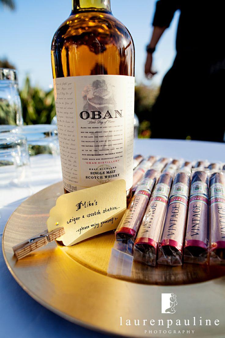 Cigar and scotch station #LaurenPaulinePhotography #WeddingReceptionPhotos #WeddingReceptionIdeas