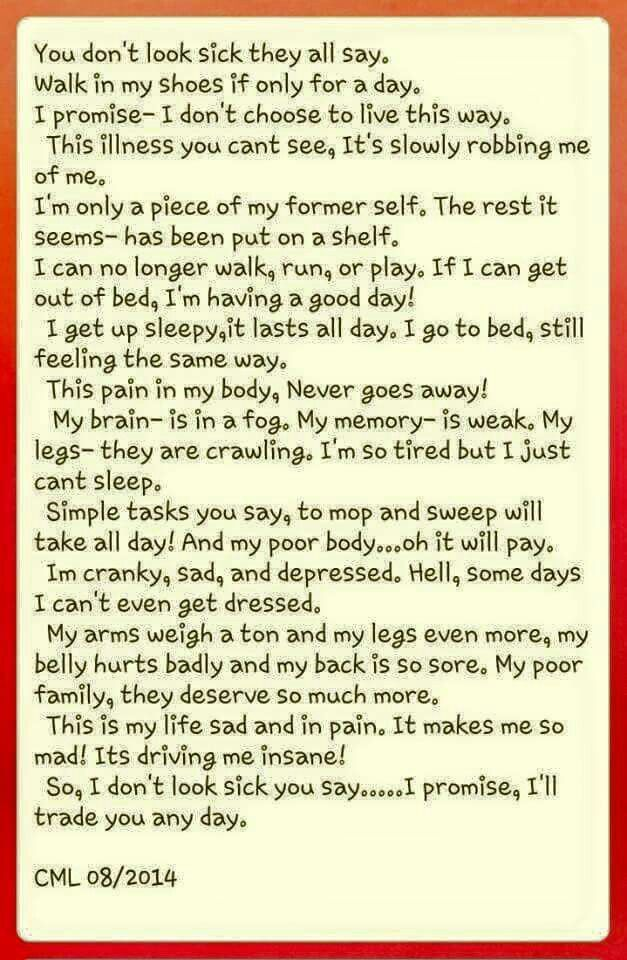 My mom has the worst case of Chronic Fatigue Syndrome and this describes it perfectly!!: