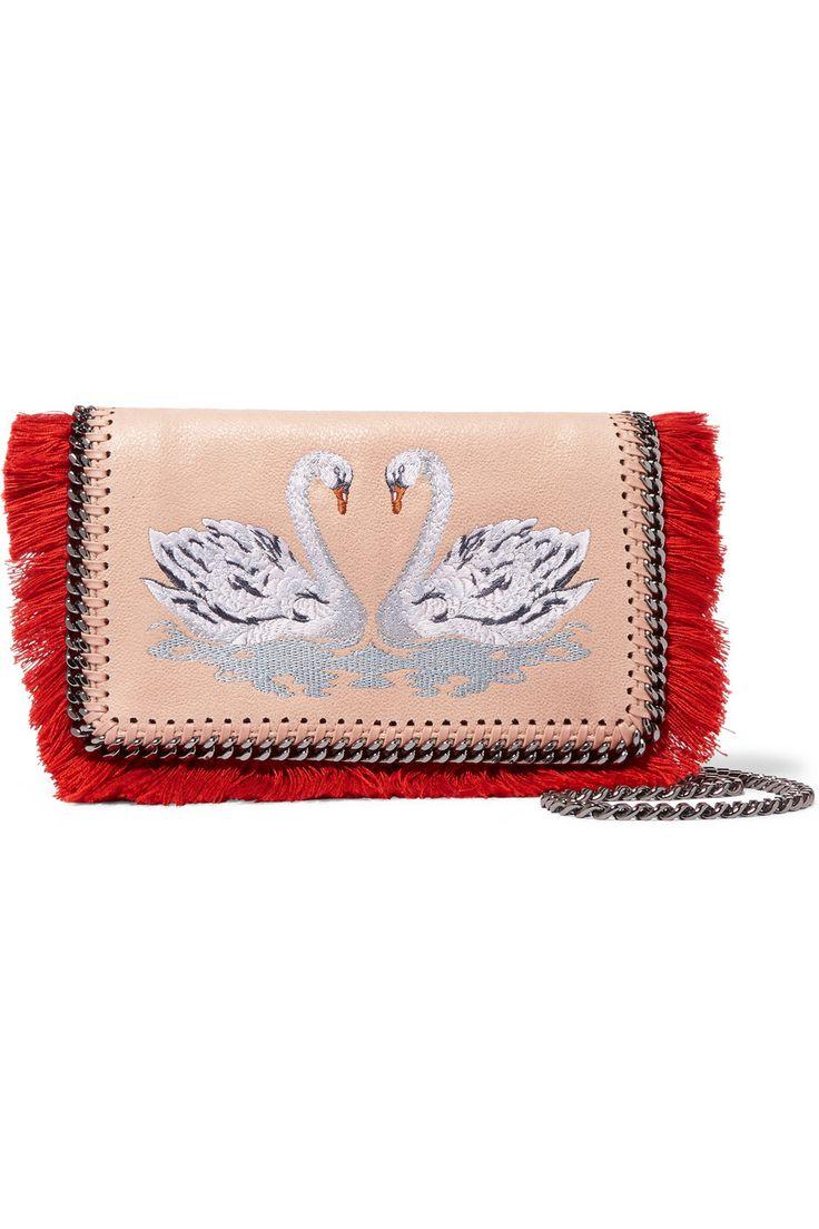 STELLA MCCARTNEY The Falabella embroidered faux brushed-leather shoulder bag