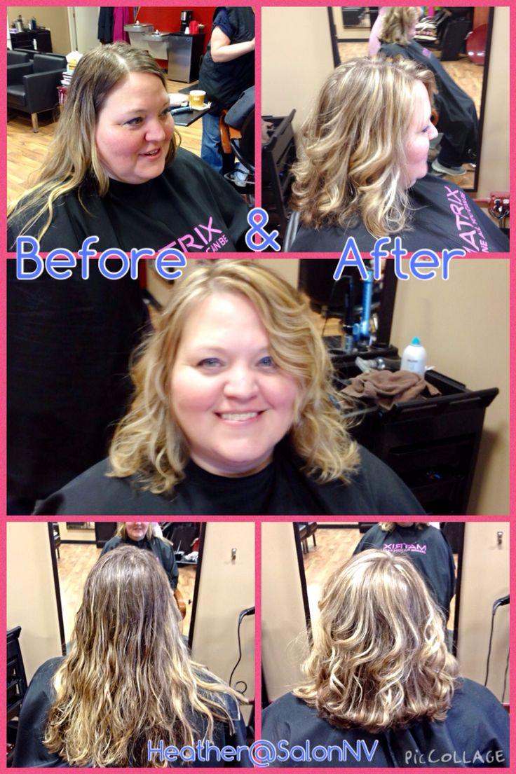 Highlights, haircut and keratin blowout, curls
