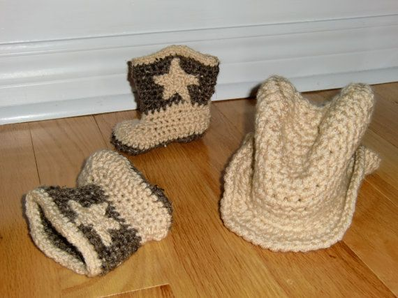 Little Cowboy Hat and Cowboy Boot Set by BabyBeanStitches on Etsy
