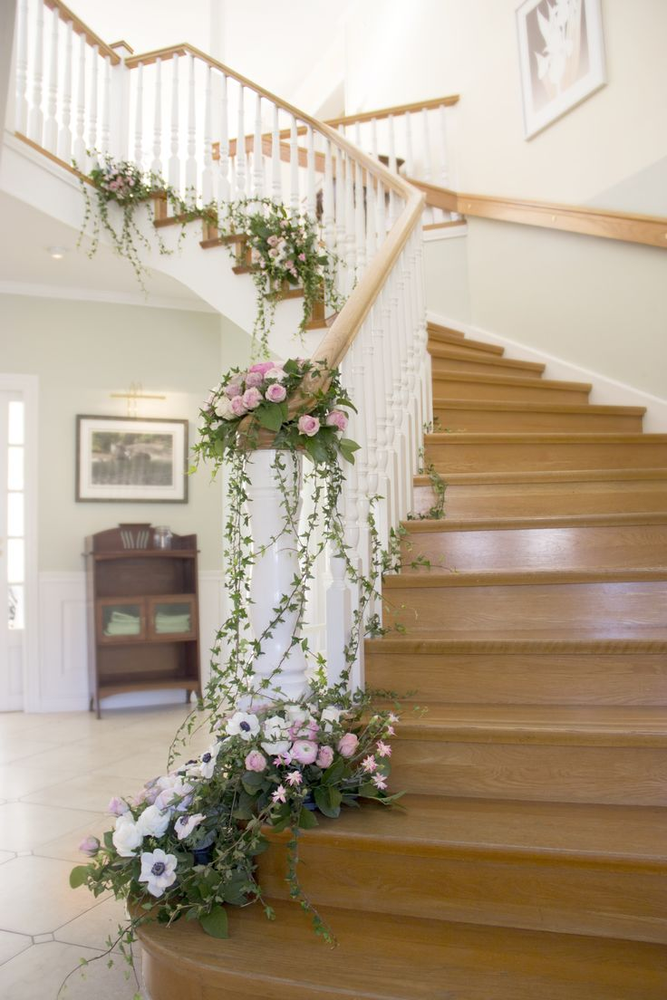 flower floral decor decoration garland staircase idea wedding romantic reception - Home Wedding Decoration Ideas