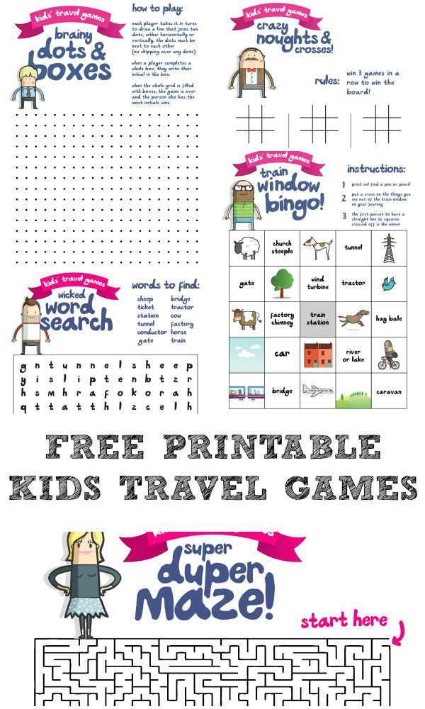 Free printable kids travel games pack including lots of traditional pen and paper games for kids, to keep them busy on long journeys (or in waiting rooms!)