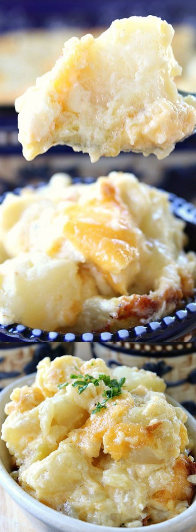 This Cheesy Baked Potato Casserole from Great Grub, Delicious Treats is the perfect side dish for any meal! It's deliciously cheesy with tender bite size potatoes, a hint of garlic and delicious sour cream!
