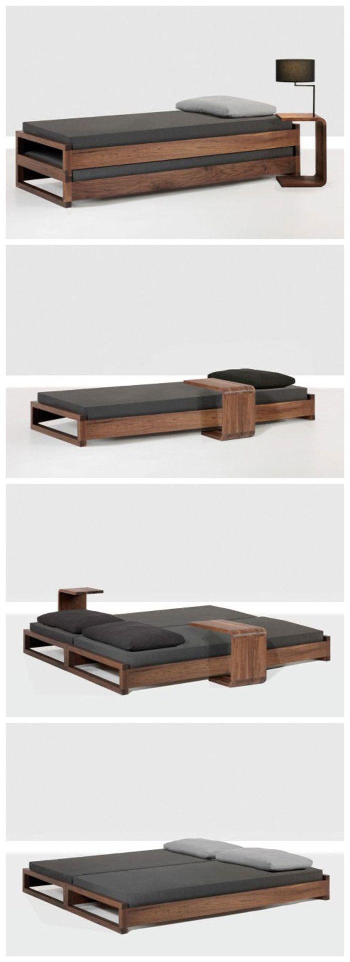 我想要的东西很特别,就如这张床。既能当单人床,又能当双人床。旁边还有个简单小巧的桌子,适合躺着看电视玩电脑。简约风~