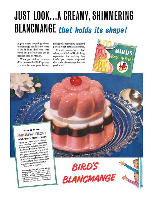 1951 Bird's Blancmange Powder ad. #vintage #1950s #recipes #ads