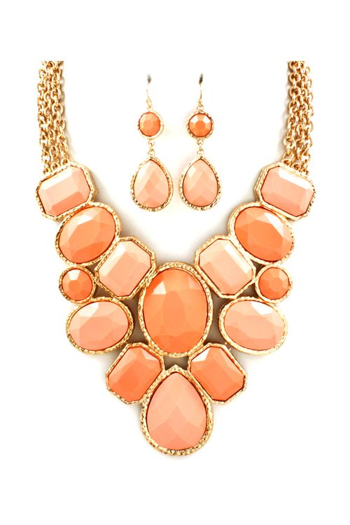 Stunning Necklace in Soft Peach Hues. Cute earrings too! #tiffany tiffany jewelry store locator