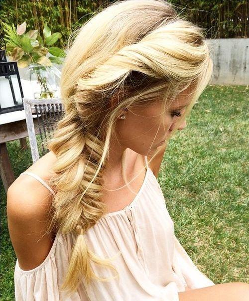 side messy fishtail for long blonde hair