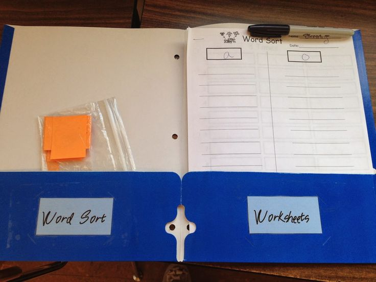 Use labels in folders to help your students keep their spelling work organized.