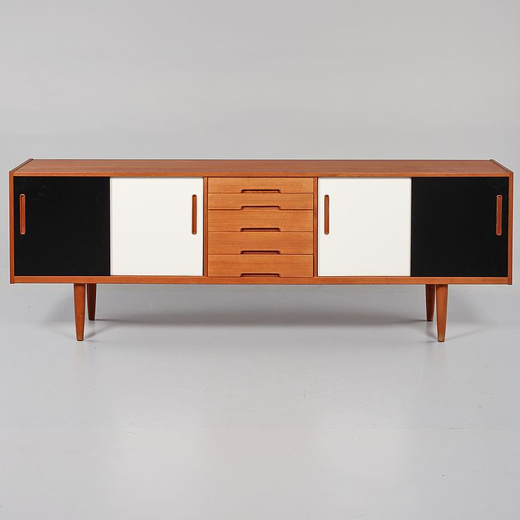 Nils Jonsson; Teak and Lacquered Wood Sideboard for Hugo Troeds, 1960s..