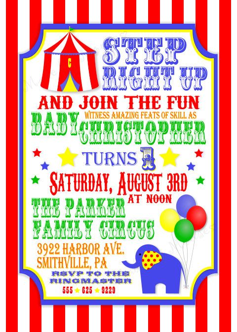 46 best Circus party images on Pinterest Birthdays, Circus party - circus party invitation
